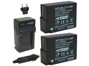 Wasabi Power Battery (2-Pack) and Charger for Panasonic DMW-BLC12, DMW-BLC12E, DMW-BLC12PP