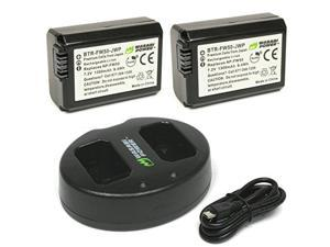 Wasabi Power Battery (2-Pack) and Dual Charger for Sony NP-FW50