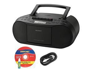 Sony CFDS70BLK CD/Cassette Boombox Home Audio Radio, Black Bundle