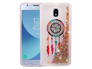 Samsung Galaxy J3 2018 Case, Premium Shockproof Hard Back Quicksand Glitter Hybrid Protector Case Clear