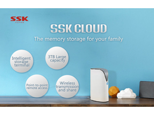 SSK SSM-F100 3TB Smart WIFI Home Cloud External Storage Hard Drive - White