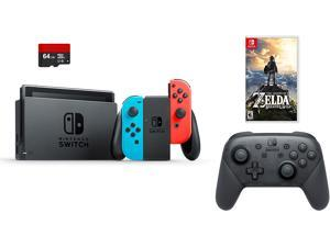 Nintendo Switch 4 items Bundle:Nintendo Switch 32GB Console Neon Red and Blue Joy-con,64GB Micro SD Memory Card and an Extra Nintendo Switch Pro Wireless Controller,The Legend of Zelda