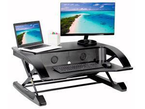 VIVO Black Elegant Height Adjustable Desk Converter Sit Stand Monitor Riser 36""