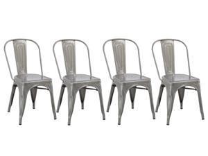 Industrial Vintage Stackable Tabouret Clear Brush Metal Distressed Dining  Bistro Cafe Side Chair ...