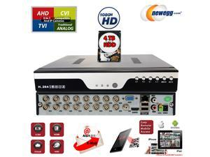 16Ch DVR with 4TB Hard Drive H.264 High-Definition Hybrid TVI AHD CVI Analog Home Office Standalone CCTV Security Digital Video Recorder w/4TB HDD Installed and Pre-Configured