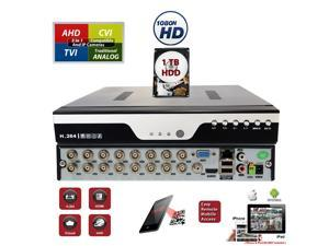 16 channel DVR with 1TB Hard Drive H.264 High-Definition Hybrid TVI AHD CVI Analog Home Office Standalone CCTV Security Digital Video Recorder w/1TB HDD Installed and Pre-Configured