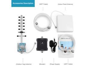 Phonetone Cell Phone Signal Booster for Home and Office Use - GSM 1900MHz Band 2 Cellular Signal Booster Antenna