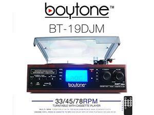 Boytone BT-19DJM 3 Speed Stereo Turntable Cassette AM/FM Radio Speaker with LCD Screen