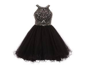 7a71d1c28f0 Big Girls Black Rhinestone Halter Neck Dazzling Junior Bridesmaid Dress 10
