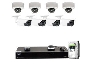 GW Security 8 Channel H.265 4K NVR 5-Megapixel (2592 x 1520) 4X Optical Zoom Network Plug & Play Security System, 8pcs 5MP 1920p 2.8-12mm Motorized Zoom POE Weatherproof Bullet & Dome IP Cameras