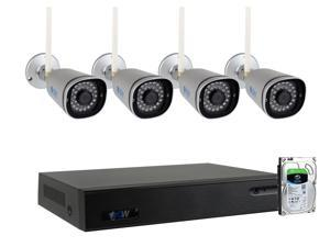 GW 9 Channel 5MP 1920P Network Wireless WiFi Security Camera System (NVR Kit) - 4 x HD 1920P Video & Audio Surveillance Outdoor/Indoor Wireless IP Cameras Built-In Microphone, 100FT IR Night Vision