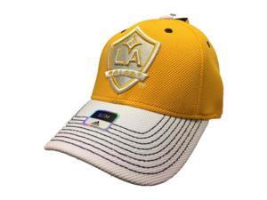 b31014628c9 Los Angeles Galaxy Adidas FitMax 70 Yellow Structured Fitted Baseball Hat  ...