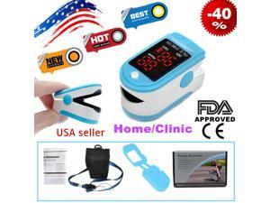FDA CONTEC LED Finger tip Pulse Oximeter Blood Oxygen meter SpO2 Heart Rate Patient Monitor with Silicone Case CMS50DL