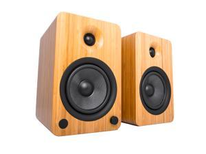 Kanto YU6 Powered Bookshelf Speakers with Bluetooth® and Phono Preamp for Turntable, TVs, PC — Bamboo