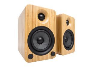 Kanto YU4 Powered Bookshelf Speakers with Bluetooth® and Phono Preamp for Turntable, TVs, PC — Bamboo