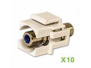 NavePoint RCA Female to Female Keystone Adapter Flush Blue 10-pack
