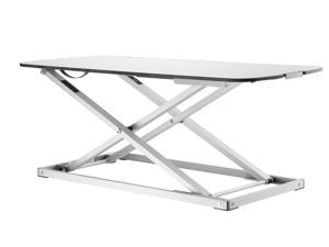 "EZUP 32x13 Height Adjustable Sit/Stand Slim Desk Surface Riser, 32"" wide - Durable White Finish Top"