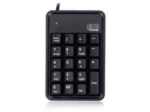 Adesso 19-Key Usb Numeric Keypad ,Built-In 3-Port  Usb Hubs , Durable  Mechnical