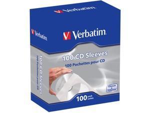 Verbatim 49976 CD/DVD Paper Sleeves with Clear Window, 100 pk