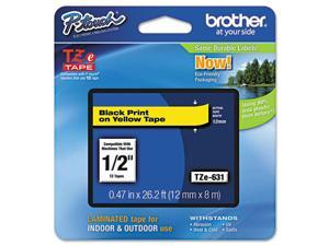 "Brother 12mm (1/2"") Black on Yellow Laminated Tape (8m/26.2') (1/Pkg)"