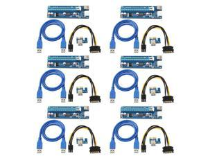 6-Pack Ver006C Mining Dedicated PCIe Riser Cable Card Adapter Cryptocurrency PCI Express 1X to 16X Extender Mining Rig 60cm ...