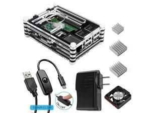 Corn Raspberry Pi 3 Accessories Kit Includes Fan Cooling and Heatsinks, 5V/2.5A Power Supply, Micro USB with On/Off Switch Case for Pi 3B 2 Model B (Not include Raspberry pi board)