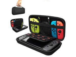 CORN Carrying Case for Nintendo Switch Console & Accessories Black Protective Hard Portable Travel Carry Case Shell Pouch with 9HD Tempered Glass Screen Protector