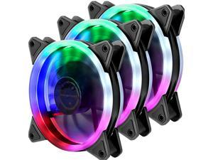 CORN Computer Case Fan 120mm LED Silent Fan Computer Cases, CPU Coolers Radiators Ultra Quiet,Triple Pack Colorful Case Fan