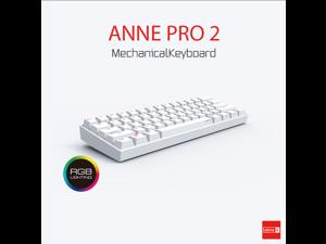 Anne Pro 2 Mechanical Keyboard 60% RGB Wired/ Wireless Bluetooth 4.0 PBT Type-c GATERON  Brown Switch-White
