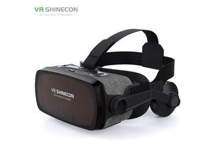 "VRSHINECON-G07E 3D VR Headset Virtual Reality Glasses for 3D Movies & VR Games with Stereo Headphones, Adjustable Lenses & Head Straps - Compatible with 4.7""-6.0"" iOS/Android Smartphone"