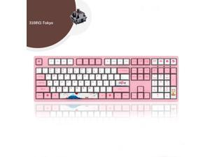 Akko3108  v2 Tokyo Version  N-Key Rollover All Non-conflicting 108Keys,  Cherry MX Brown Mechanical Keyboard 108 Key PBT Key Cap Pink/White(No Backlight) Gaming Keyboard