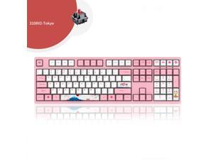 Akko3108  v2 Tokyo Version  N-Key Rollover All Non-conflicting 108Keys,  Cherry MX Red Mechanical Keyboard 108 Key PBT Key Cap Pink/White(No Backlight) Gaming Keyboard