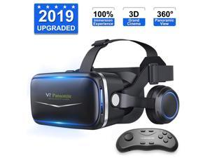 2019 New Version CORN Upgraded & Lightweight Virtual Reality Headset with Stereo Headphone,Eye Protected HD Vr Headset with Remote Controller for 3D Movies and Games