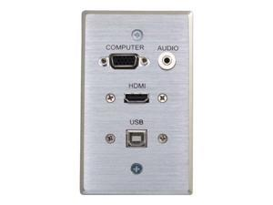 C2G 39707 HDMI, VGA, 3.5mm Audio and USB Pass Through Single Gang Wall Plate, Aluminum