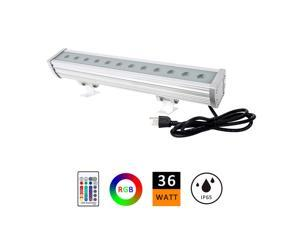 36W RGB LED Wall Washer Lights, Plug and Play with Hand Remote Control, IP65 For Outdoor Weather Resistance, RGB Colors for DJ Stage, Parties, Church Lighting