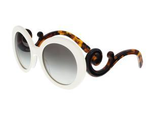 377ac4c58bf3 Prada PR 08TS VAG0A7 White Round Minimal Baroque Sunglasses