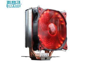 Pccooler S125+ CPU cooler 16 PCS red LED 12cm 4pin quiet fan for AMD Intel 775 115x 2011 1366 computer cpu cooling radiator fan