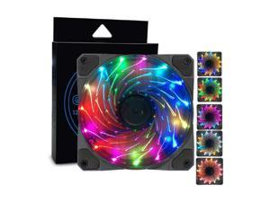 15 Colorful LED Lights Fan Silent Fan 3Pin/4Pin Cooler Fan Radiator 12V Multicolor LED Light Heatsink Computer Case Fan Air Cooling 120mm/12cm