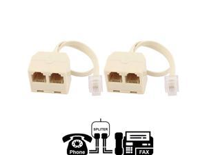 (2 Pack) Tekit Two Way Telephone Splitter,1 Male to 2 Female Converter Cable RJ11 6P4C Telephone Wall Adaptor and Separator,RJ11 6P4C 2 Way Outlet Telephone Jack Line Splitter Adapter Beige