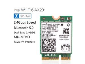 Dual Band 2400Mbps Wireless Intel Wi-Fi 6 AX201 Bluetooth 5.0 NGFF Key E CNVi Wifi Card AX201NGW 2.4Ghz/5Ghz 802.11ac/ax,Interface:NGFF(M.2),22x30mm,just support CNVIO interface.