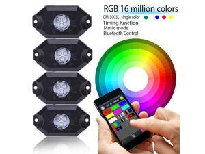 LED4Everything (TM) 4PC RGB LED Multi-Color Offroad Rock Lights Wireless Music Bluetooth Truck Jeep