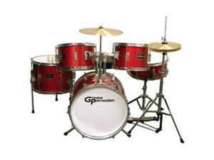 Groove Percussion JR200 5 Piece Children's Drum Set with Hardware and Cymbals, Red
