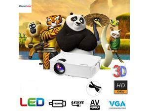 7000 Lumens 1080P FHD LED LCD Home Theater Projector 3D HDMI USB SD AV VGA US