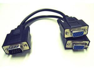 ONE PC to TWO MONITORS CONNECTOR SPLITTER VGA SVGA SPLITTER DISPLAYING 2 MONITOR