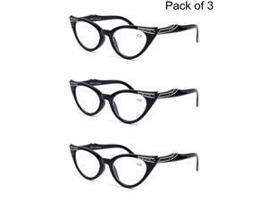 d50c86f98f 3 PACK Womens Lady Black Cat Eye Reading Glasses Readers 1.0 1.5 ...