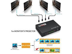 4-Port HDMI Splitter - New, Hubs, Computer Accessories