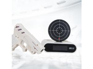 Novelty gadget Infrared Laser Target Gun Shooting Alarm Clock Digital With Red LED backlight Cool Gadget Toy White