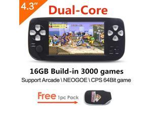 4.3 inch Dual core 16GB 64Bit Handheld Video Game Console build in 3000 no-repeat game for NEOGEO\CPS\GBA\GBC\GB\SFC\FC\MD\GG\SMS MP3/4