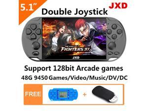 JXD new 5.1 Inch 48GB  Built-in 94500 No-Repeat Games double joystick 128Bit video game console support arcade neogeo/cps/gba/gbc/gb/sfc/fc/sega game with MP4 MP5 Function