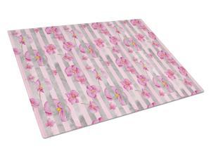 Watercolor Pink Flowers Grey Stripes Glass Cutting ...